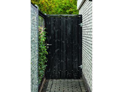 complete zwart grenen tuinpoort met stalen frame 195 cm