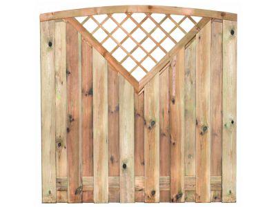Kiefernholz-Gartensichtschutz superior Bogen 15 Bretter 180 x 180 cm
