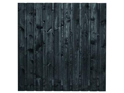 Schwarz lackierter Kiefernholz-Gartensichtschutz 19 Bretter 180 cm hoch